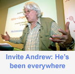 Image of Andrew Jennings giving a presentation which links to Andrew's previous appearances web page