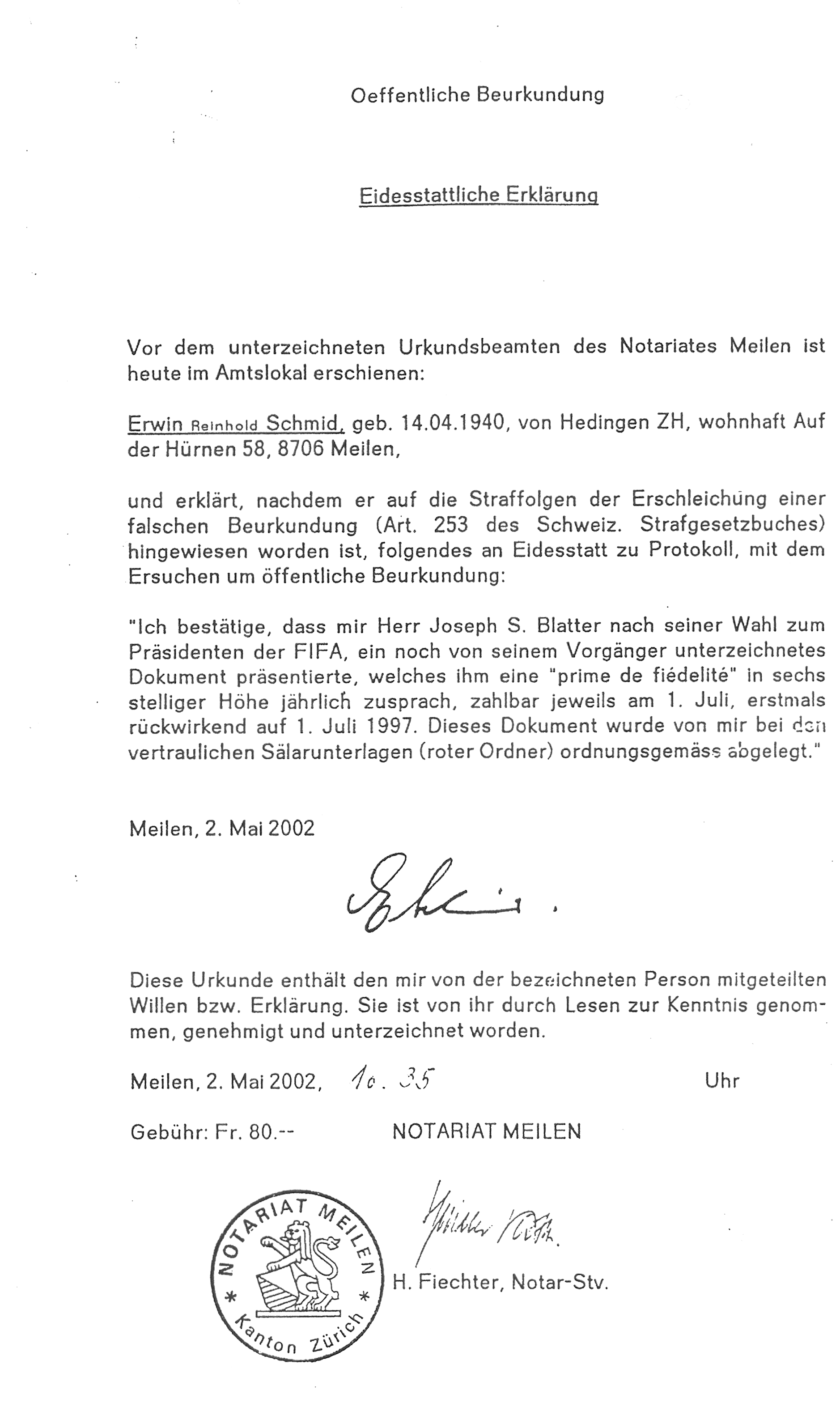 The legal document that proves Blatter a liar.