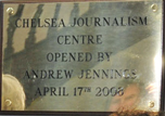 Photo of brass plaque at new centre for journalism